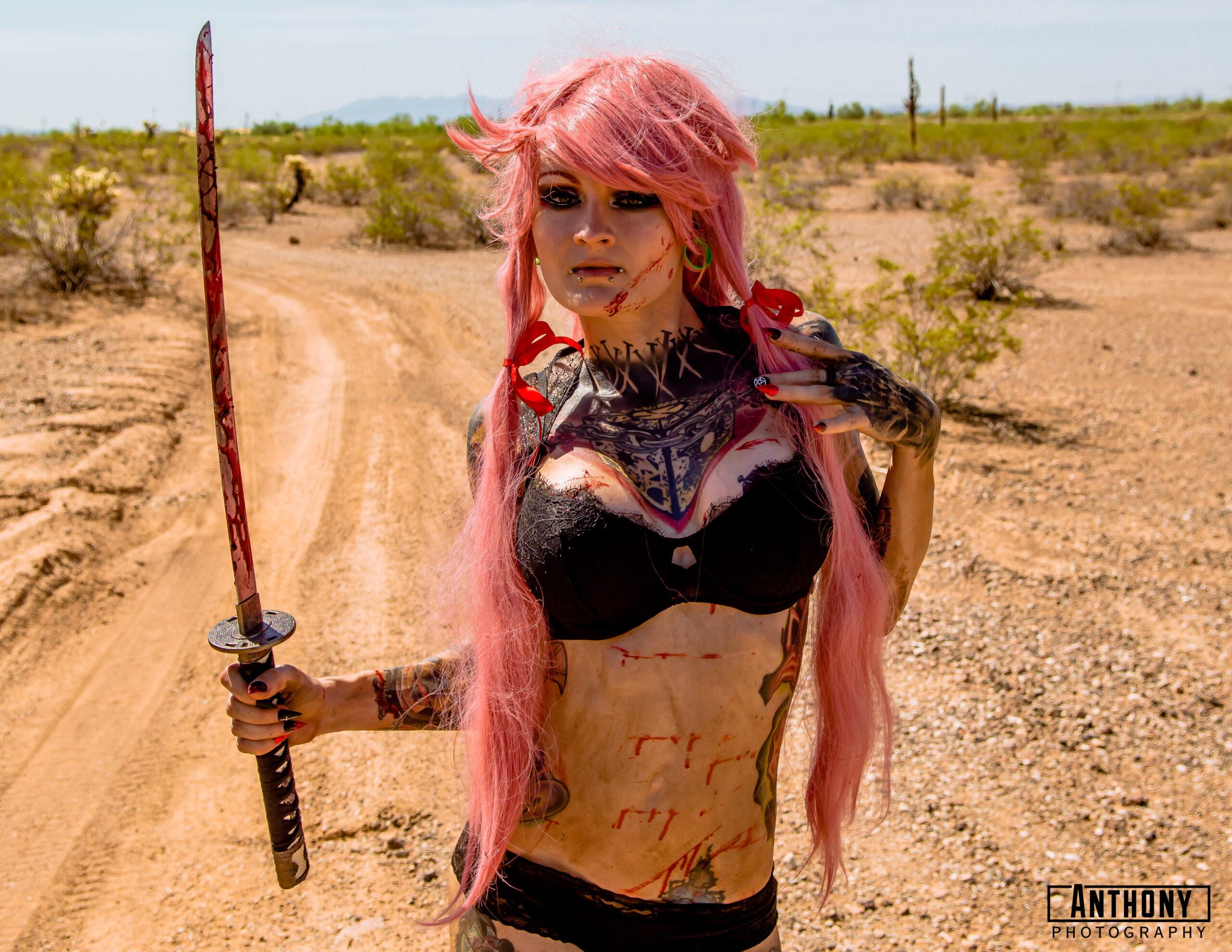 dollydestruction-cosplay-yunogasai-tattoomodel-inkedmodel-tattoos-horrortattoos-inkedmag-pinkhair